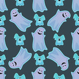 Cartoon spooky ghost character scary holiday monster costume evil seamless pattern creepy phantom spectre apparition Royalty Free Stock Photography