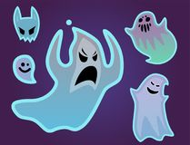 Cartoon spooky ghost character scary holiday monster costume evil silhouette creepy phantom spectre apparition vector Royalty Free Stock Image