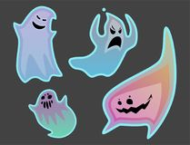 Cartoon spooky ghost character scary holiday monster costume evil silhouette creepy phantom spectre apparition vector Royalty Free Stock Photo