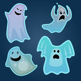 Cartoon spooky ghost character scary holiday monster costume evil silhouette creepy phantom spectre apparition vector Stock Image