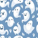 Cartoon spooky ghost character scary holiday monster costume evil seamless pattern vector illustration. Stock Photos