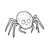 Cartoon spooky halloween skull spider Royalty Free Stock Image