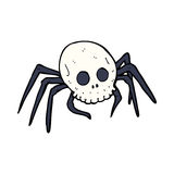 Cartoon spooky halloween skull spider Royalty Free Stock Photo