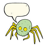 Cartoon spooky halloween skull spider with speech bubble Royalty Free Stock Image