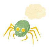 Cartoon spooky halloween skull spider with thought bubble Royalty Free Stock Image