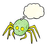 Cartoon spooky halloween skull spider with thought bubble Royalty Free Stock Photo