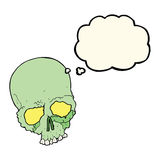 Cartoon spooky old skull with thought bubble Royalty Free Stock Photo