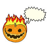 Cartoon spooky pumpkin with speech bubble Royalty Free Stock Photography