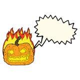 Cartoon spooky pumpkin with speech bubble Stock Image