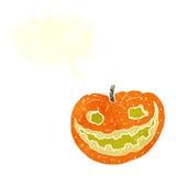 Cartoon spooky pumpkin with speech bubble Royalty Free Stock Photography