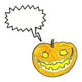 Cartoon spooky pumpkin with speech bubble Royalty Free Stock Photo