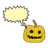 Cartoon spooky pumpkin with speech bubble Stock Photography