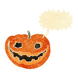 Cartoon spooky pumpkin with speech bubble Royalty Free Stock Image