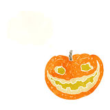 Cartoon spooky pumpkin with thought bubble Stock Image