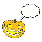 Cartoon spooky pumpkin with thought bubble Royalty Free Stock Images