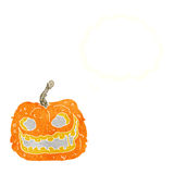 Cartoon spooky pumpkin with thought bubble Stock Photo