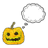 Cartoon spooky pumpkin with thought bubble Royalty Free Stock Photo