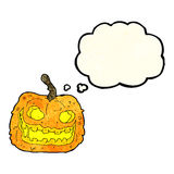 Cartoon spooky pumpkin with thought bubble Royalty Free Stock Photography