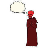 cartoon spooky skeleton in robe with thought bubble Royalty Free Stock Image