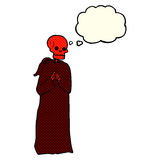 cartoon spooky skeleton in robe with thought bubble Royalty Free Stock Photo