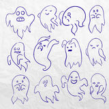 Cartoon spooky sketchy Ghost character vector set. Holiday monster design. Costume evil silhouette Helloween night Stock Photography