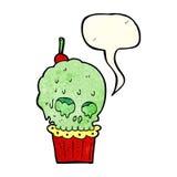 Cartoon spooky skull cupcake with speech bubble Stock Image