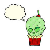 Cartoon spooky skull cupcake with thought bubble Royalty Free Stock Images