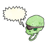 Cartoon spooky skull with eye patch with speech bubble Stock Image