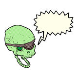 Cartoon spooky skull with eye patch with speech bubble Stock Photography