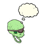 Cartoon spooky skull with eye patch with thought bubble Royalty Free Stock Image