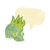 Cartoon spooky skull with speech bubble Stock Photos