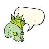 Cartoon spooky skull with speech bubble Royalty Free Stock Image