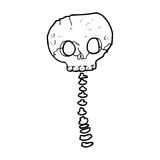 Cartoon spooky skull and spine Royalty Free Stock Photo