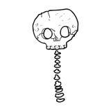Cartoon spooky skull and spine Royalty Free Stock Photo