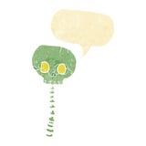 Cartoon spooky skull and spine with speech bubble Stock Photos