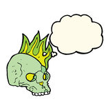 Cartoon spooky skull with thought bubble Royalty Free Stock Image