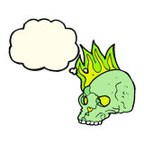 Cartoon spooky skull with thought bubble Stock Photography