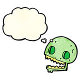 Cartoon spooky skull with thought bubble Stock Photos