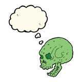 Cartoon spooky skull with thought bubble Royalty Free Stock Photos