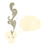 Cartoon spooky smoking skull Royalty Free Stock Photography