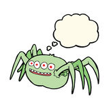 Cartoon spooky spider with thought bubble Stock Image