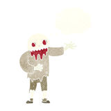 Cartoon spooky zombie with thought bubble Stock Image