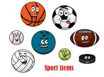 Cartoon sport ball characters Royalty Free Stock Images