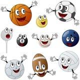 Cartoon Sport Balls Characters. Collection of ten funny cartoon sport balls characters (basketball, tennis, soccer, football, golf, baseball, bowling, handball Stock Images