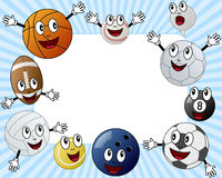Cartoon Sport Balls Photo Frame. Photo frame, invitation card or page for your scrapbook. Subject: ten funny cartoon sport balls characters (basketball, tennis Royalty Free Stock Photos