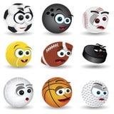 Cartoon sport balls. Vector set of various cartoon sort balls Stock Images