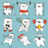 Cartoon Sport Bears in Action Collection Royalty Free Stock Image
