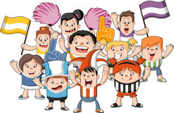 Cartoon sport fans and supporters cheering Royalty Free Stock Images