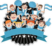 Cartoon sport fans and supporters cheering Stock Images