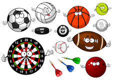 Cartoon sport game items and equipment Royalty Free Stock Photography